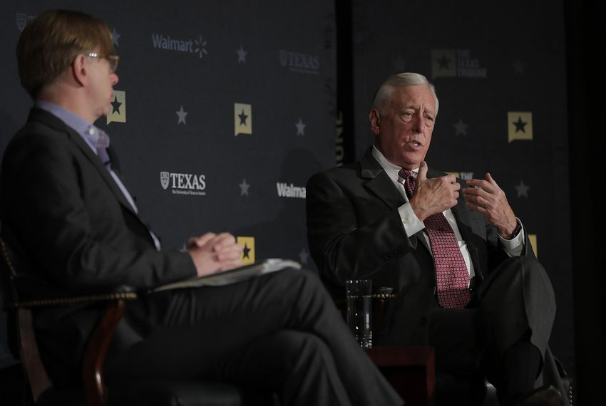 Minority Whip of the U.S. House Steny Hoyer, D-Maryland, discusses President DonaldTrump, Congress and the Democrats' road forward withNew York Times Magazine's Robert Draper at The Texas Tribune Festival on Sept. 23, 2017.