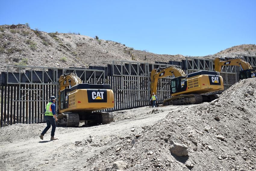 A portion of the border wall built by We Build The Wall, a private group that raised money through a GoFundMe account, on private land in El Paso's west side.