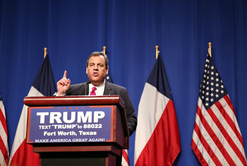 Chris Christie speaks at a rally in Fort Worth after endorsing Donald Trump for president on Feb. 26, 2016.