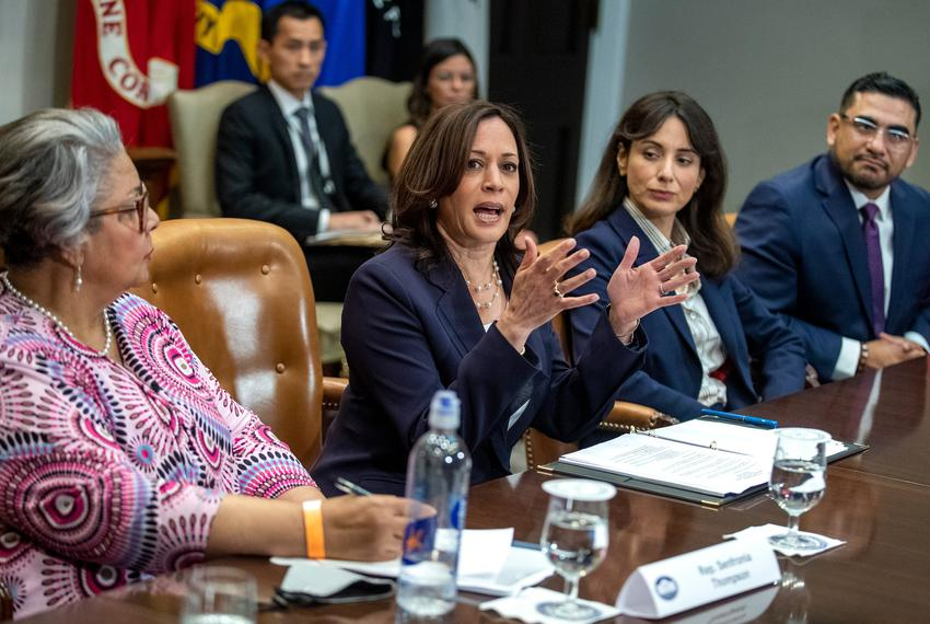 Vice President Kamala Harris delivers remarks during a meeting with Democratic Texas state lawmakers in the Roosevelt Room o…