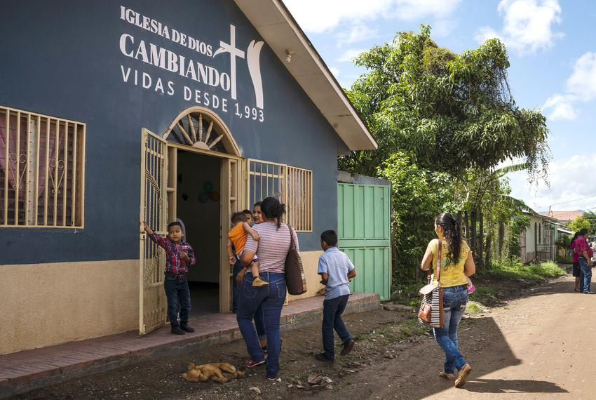 Claudia and her family attend Sunday church in Olancho, Honduras. She says that listening to the Lordís word helps her deal…