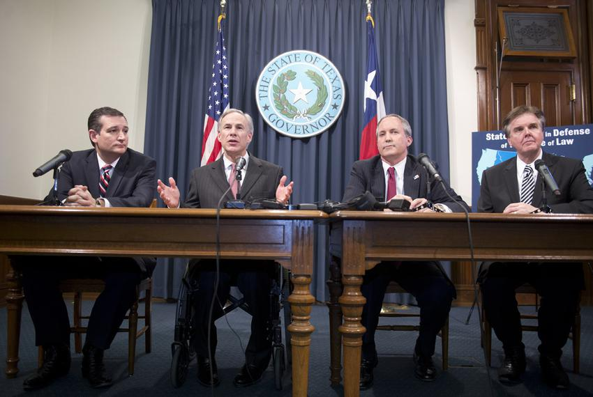 U.S. Sen. Ted Cruz, Gov. Greg Abbott, Attorney General Ken Paxton and Lt. Gov. Dan Patrick praise a judge's ruling against O…