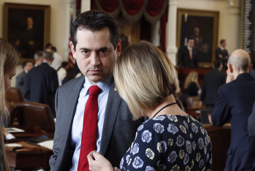 State Rep. Matt Rinaldi, R-Irving, on the floor of the House after a scuffle with some members of the Hispanic Caucus on the last day of the 85th Legislature, on May 29, 2017.