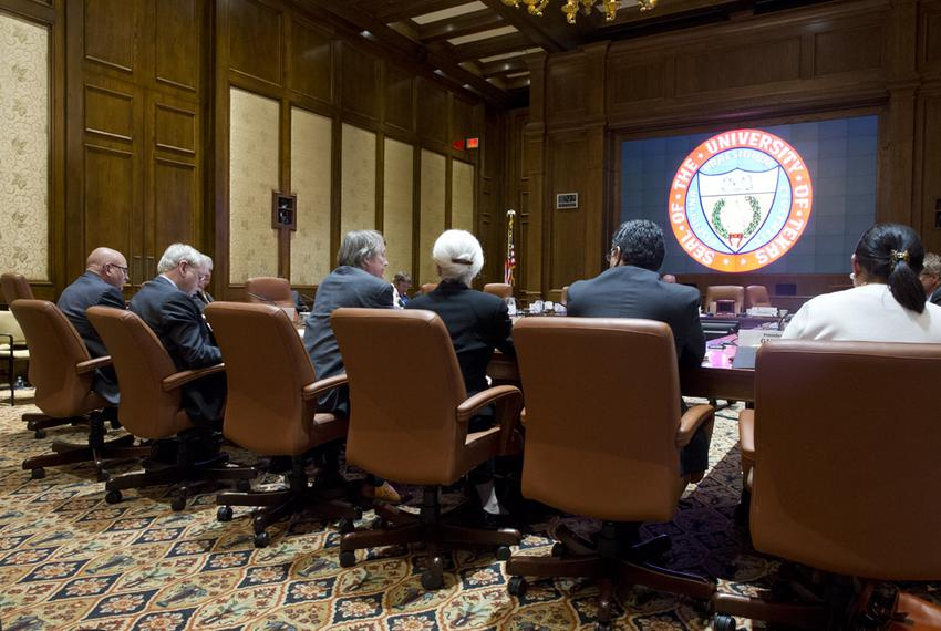 UT Presidents testify at the University of Texas Board of Regents meeting on May 14, 2014.