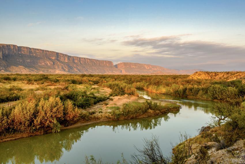An early morning view along the Rio Grande looking towards Santa Elena Canyon in Big Bend National Park.