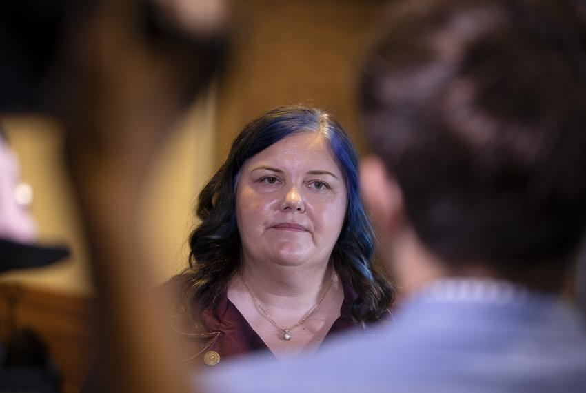 State Rep. Michelle Beckley, D-Carrollton, speaks to reporters at the General Investigation committee hearing at the Capitol…