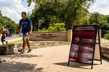 Sewell park at the Texas State University campus is closed on the first day of classes for the fall semester, in order to prevent the spread of  COVID-19.
