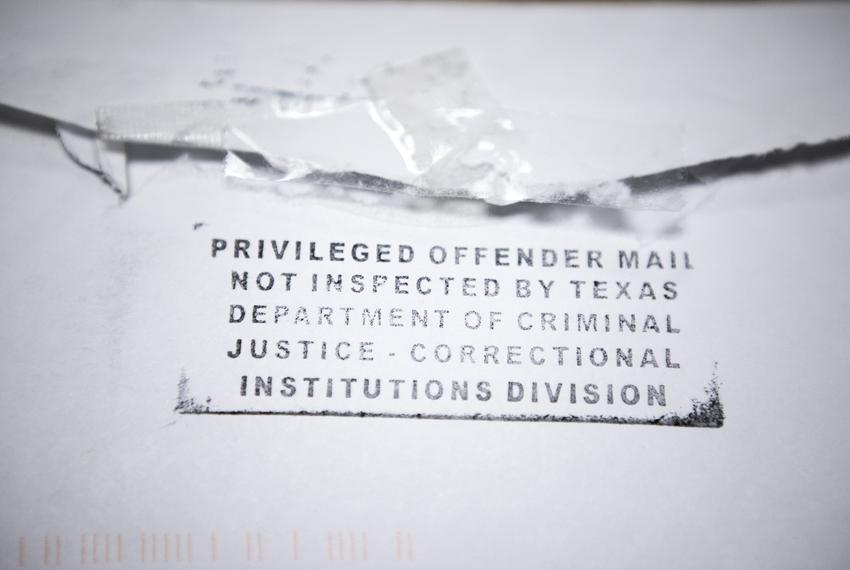 A letter from an incarcerated individual in Texas.