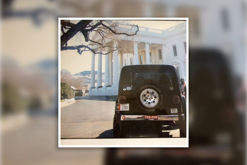 U.S. Rep. Ted Poe fondly recalls the time he was allowed to drive his Jeep directly onto the White House driveway while George W. Bush, a fellow Texan, was president. Photo courtesy of Congressman Ted Poe.