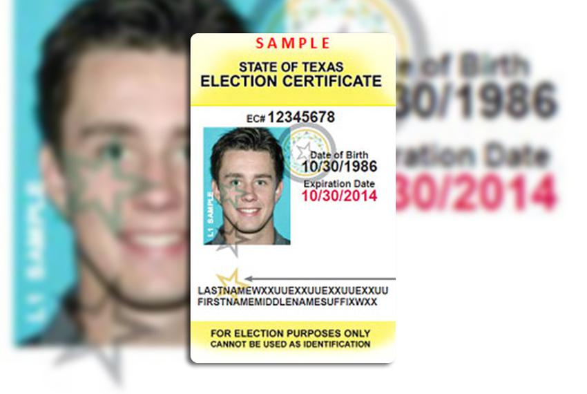 This is a sample Texas Election Identification Certificate, available for those voters who do not have an acceptable form of…