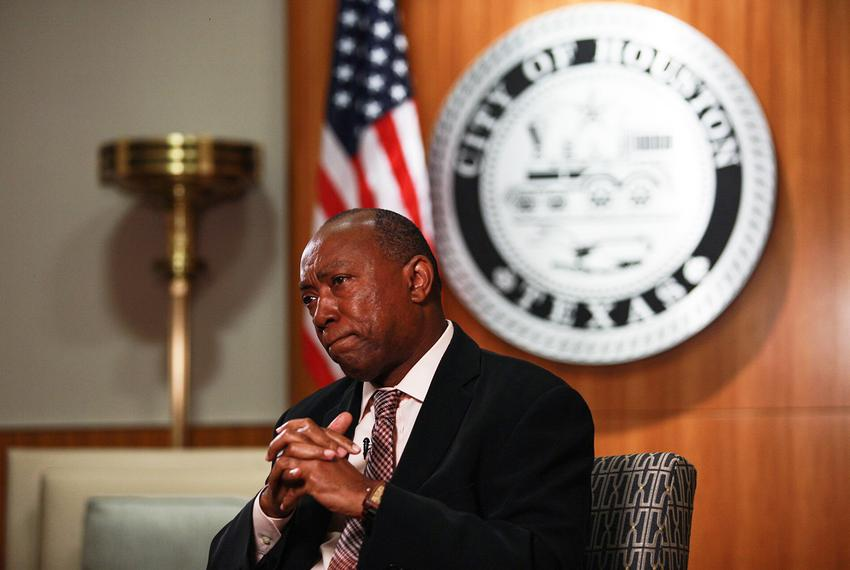 Houston Mayor Sylvester Turner in his office in City Hall on Sept. 25, 2017.