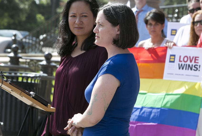 Cleo DeLeon (left) and Nicole Dimetman, the Texas marriage plantiffs, during press conference on June 29, 2015 at Texas Ca...