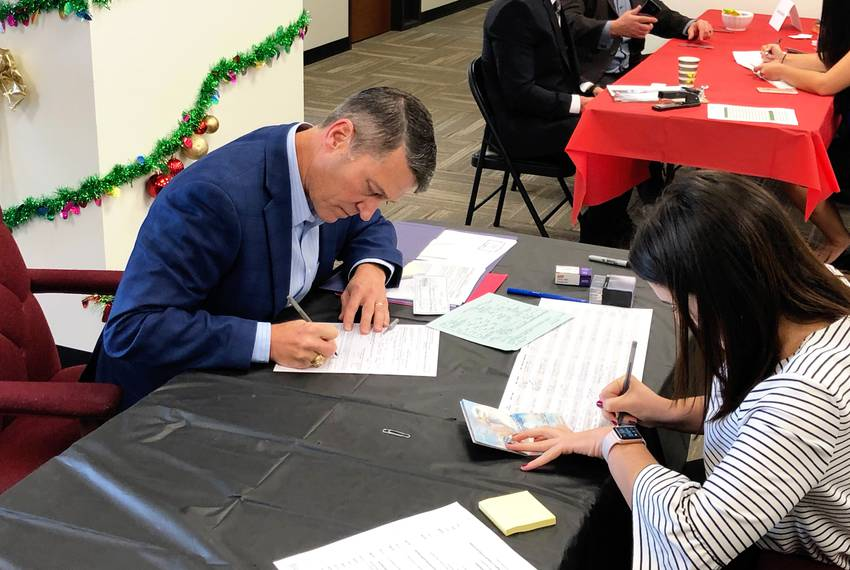 Former Naval Rear Admiral Ronny Jackson submits paperwork to run for U.S. Congress at the Texas GOP headquarters in Austin...