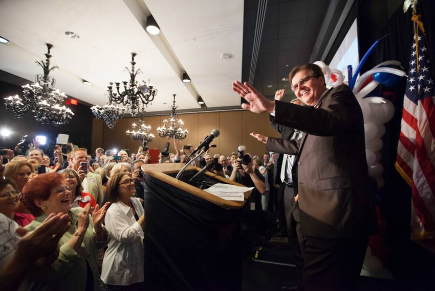 Republican state Sen. Dan Patrick at a primary runoff election party in Houston on May 27, 2014. Patrick later won the lie...