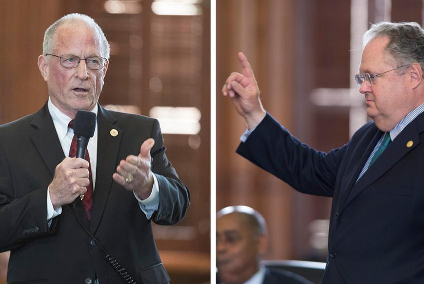 Republican state Sens. Bob Hall, left, and Craig Estes.