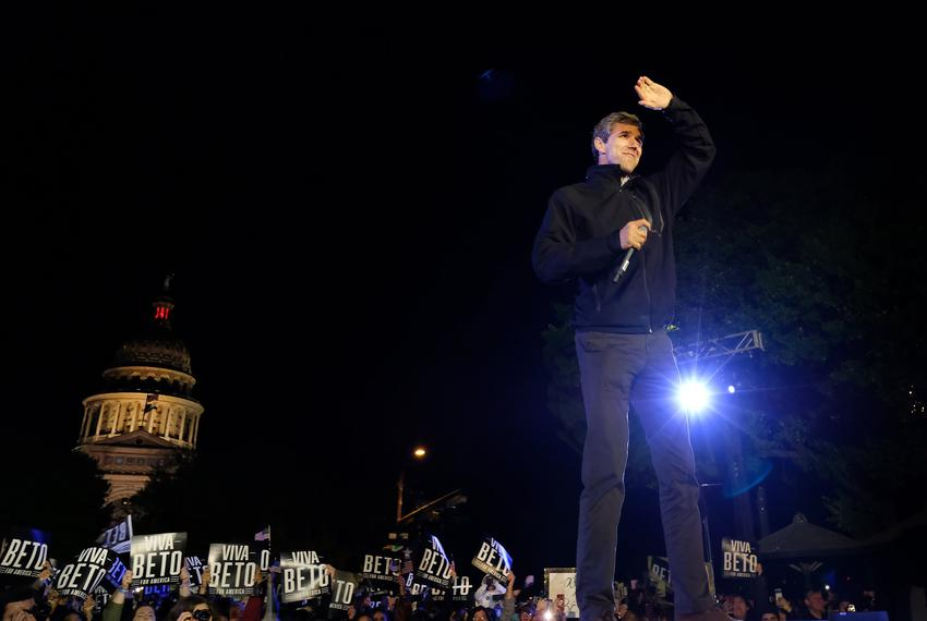 Presidential candidate Beto O'Rourke speaks to supporters gathered in front of the state Capitol in Austin, his last stop on…