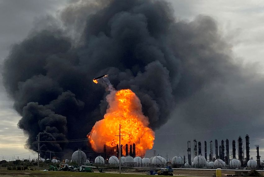 A process tower flies through air after exploding at the TPC Group Petrochemical Plant in Port Neches. An earlier massive explosion sparked a blaze at the plant on Nov. 27, 2019.