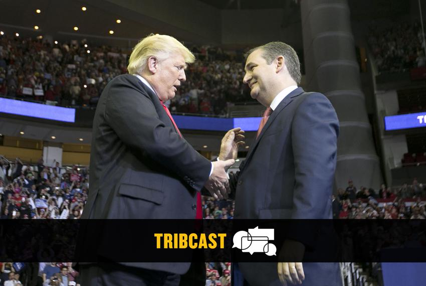 President Donald Trump greets U.S. Sen. Ted Cruz at a MAGA rally in Houston on Oct. 22, 2018.