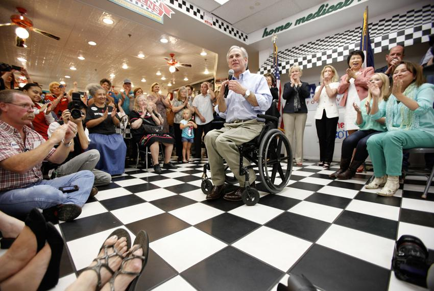 Greg Abbott at a campaign event at the Ben Franklin Apothecary in Duncanville on July 16, 2013.