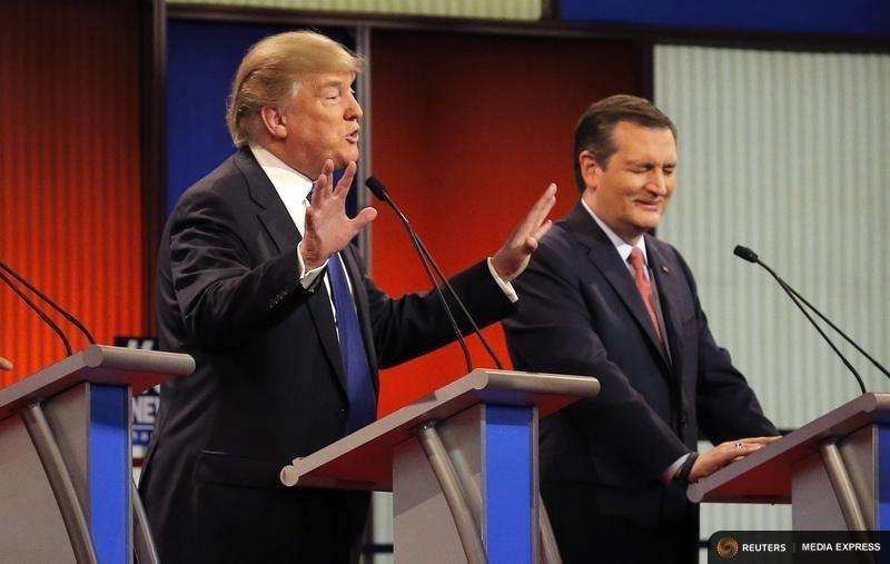 Businessman Donald Trump and U.S. Sen. Ted Cruz at the GOP presidential debate in Detroit, Michigan on March 3, 2016.