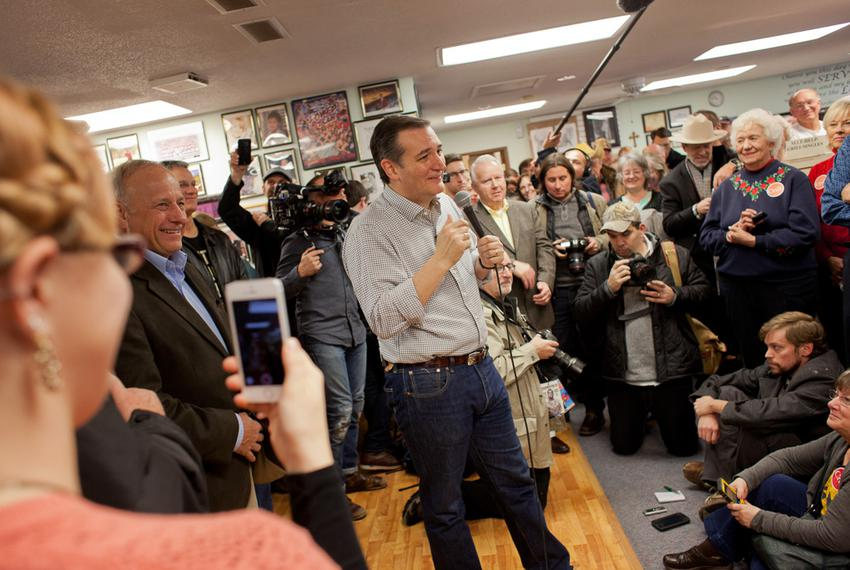 U.S. Sen. Ted Cruz speaks to a crowd gathered at Kings Christian Bookstore in Boone, Iowa, on Jan. 4, 2016. Cruz kicked off …