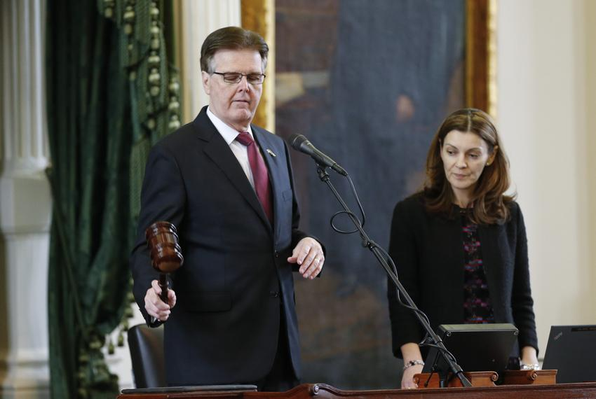 Parliamentarian Karina Davis watches as new Lt. Gov. Dan Patrick gavels in the Texas Senate on Jan. 21, 2015.