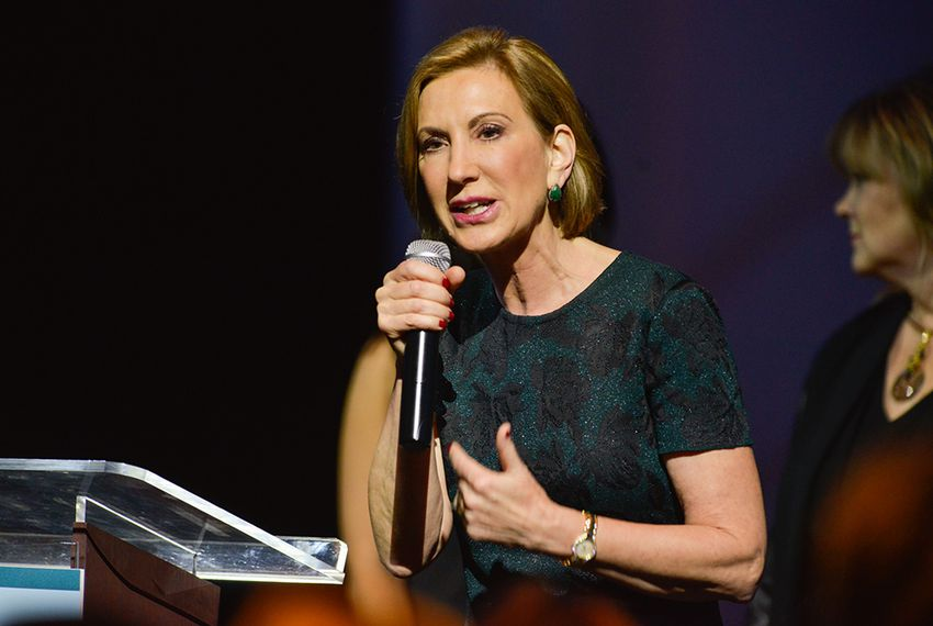 Republican presidential candidate Carly Fiorina speaks to the National Organization of Women Business Owners meeting in San Antonio, Texas on Sept. 27, 2015.