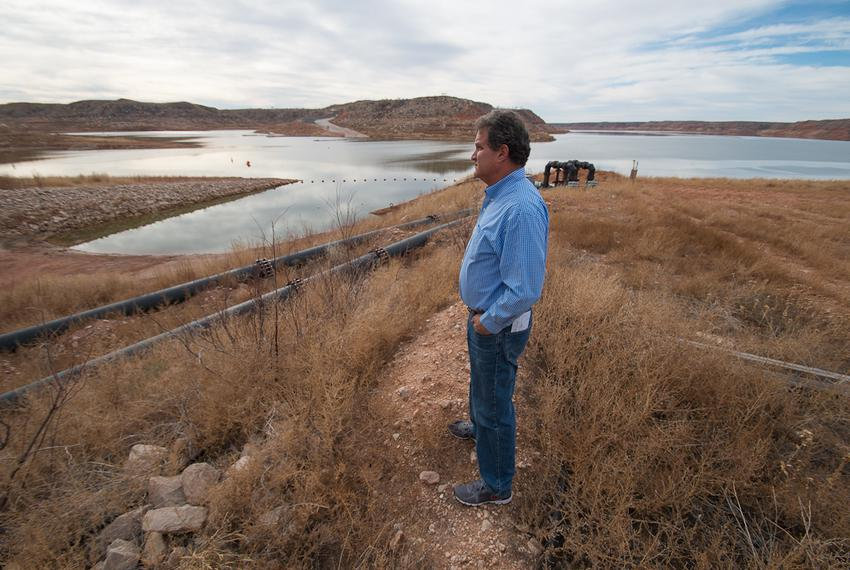 Kent Satterwhite, general manager of the Canadian River Municipal Water Authority at Lake Meredith near Borger, Texas, on ...