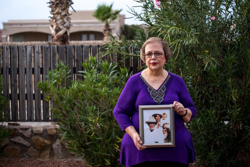 Arlinda Valencia, 68, holds a photograph taken in 1918 of her great-grandfather Longino Flores, left, great-grandmother Ju...