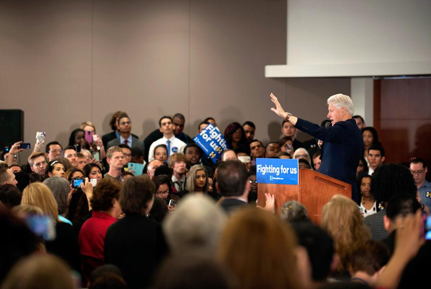 Bill Clinton at a rally held at Fort Worth's Tarrant County College. Clinton came to Fort Worth to rally for his wife, Hilla…
