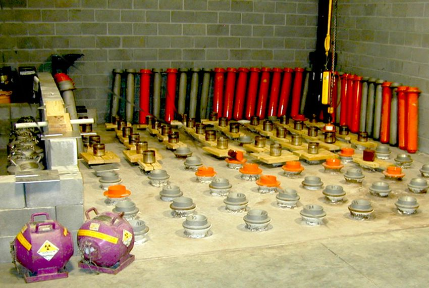 Large quantities of radioactive materials stored in a single location, like these at an oil well-logging storage site, are particularly vulnerable to theft for use in a dirty bomb, the Department of Energy and the Government Accountability Office determined in 2014, yet the Nuclear Regulatory Commission still allows the practice.