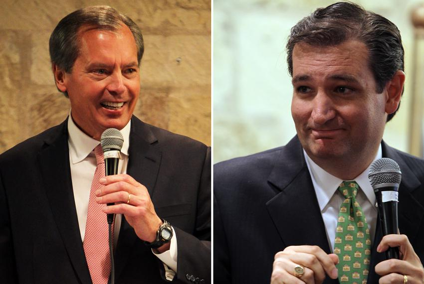Lt. Gov. David Dewhurst and Ted Cruz speak at the Republican Women of Kerr County luncheon at Inn of the Hills in Kerrville,…