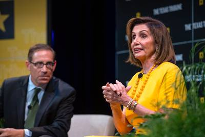 U.S. Speaker of the House Nancy Pelosi closes the Texas Tribune Festival discussing the possible impeachment of president Donald Trump with editor Evan Smith. Pelosi took a quick break from the Washington drama to make her second appearance at the Festival. (Bob Daemmrich for the Texas Tribune)