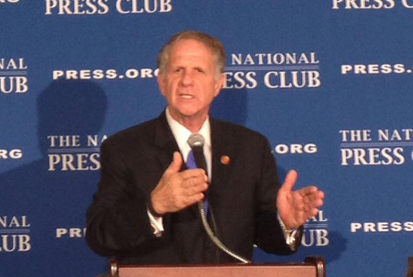 Rep. Ted Poe, R-Humble, speaking at the National Press Club on April 29, 2014. Poe has coauthored a bipartisan bill with D...