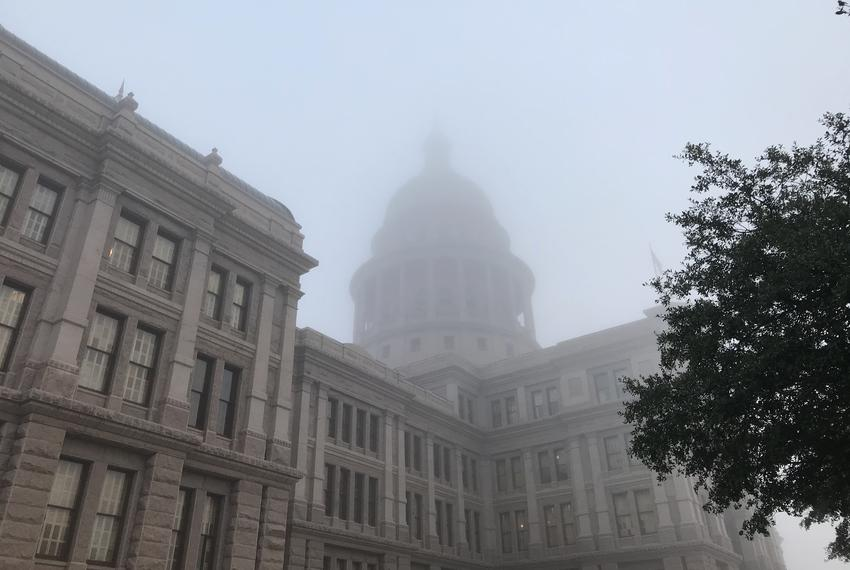 Fog shrouds the state Capitol on the first day of the 86th Legislature, on Tuesday, Jan. 8, 2019.