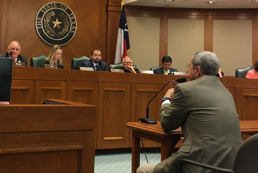 The state House Committee on Criminal Jurisprudence listens as former Texas Land Commissioner Jerry Patterson testifies on potential gun legislation after the Santa Fe school shooting, on June 25, 2018.