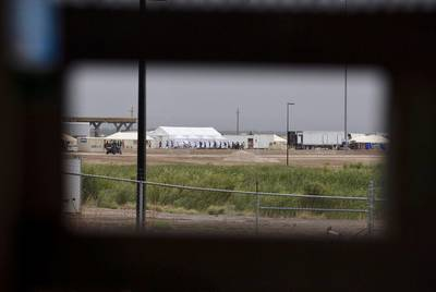 The tent city erected to house children separated from their parents at the border in Tornillo, on June 16, 2018.