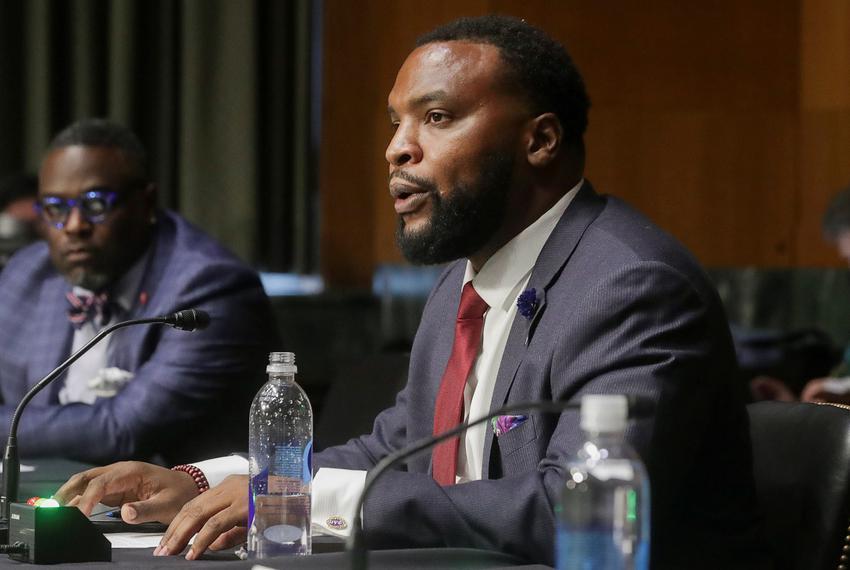 Lee Merritt, attorney for the Merritt Law Firm in Philadelphia, testifies during a Senate Judiciary Committee hearing to exa…