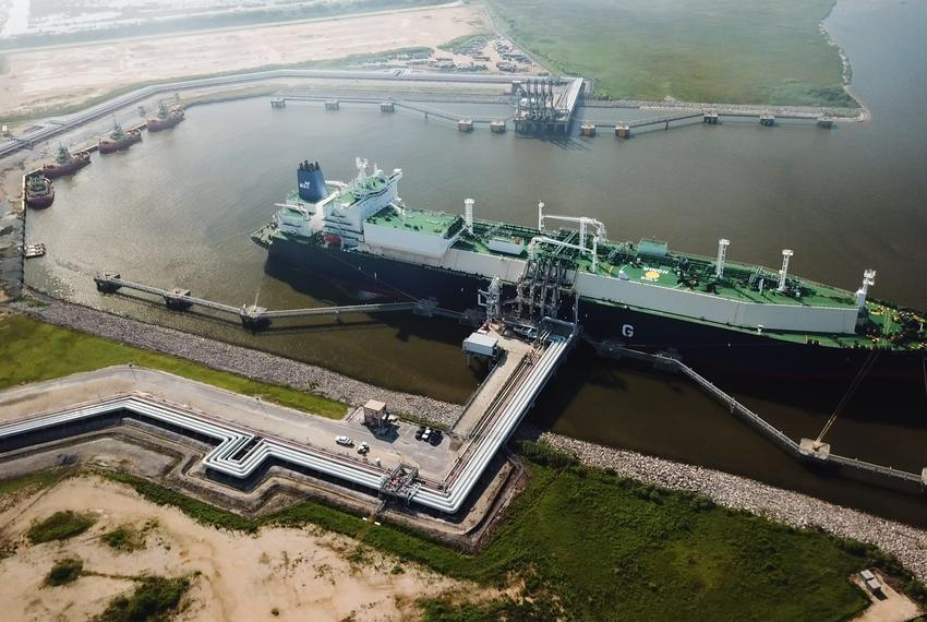 A carrier of liquefied natural gas (LNG) is docked at Cheniere's Sabine Pass Terminal in Cameron Parish, Louisiana, on Jul...