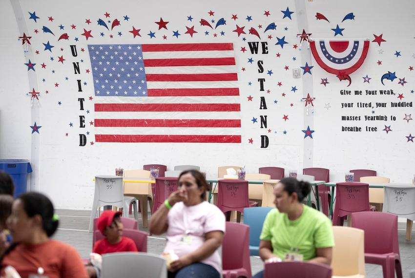 Patriotic themes adorn the recreation center walls at the U.S. Immigration and Customs Enforcement's South Texas Family Re...