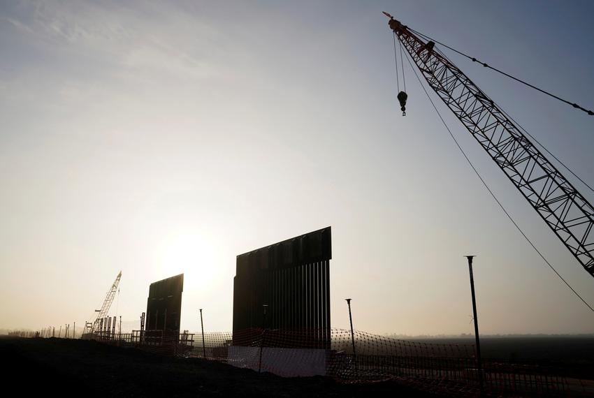 Segments of the first border wall construction in Texas since President Trump took office near Donna in 2019.