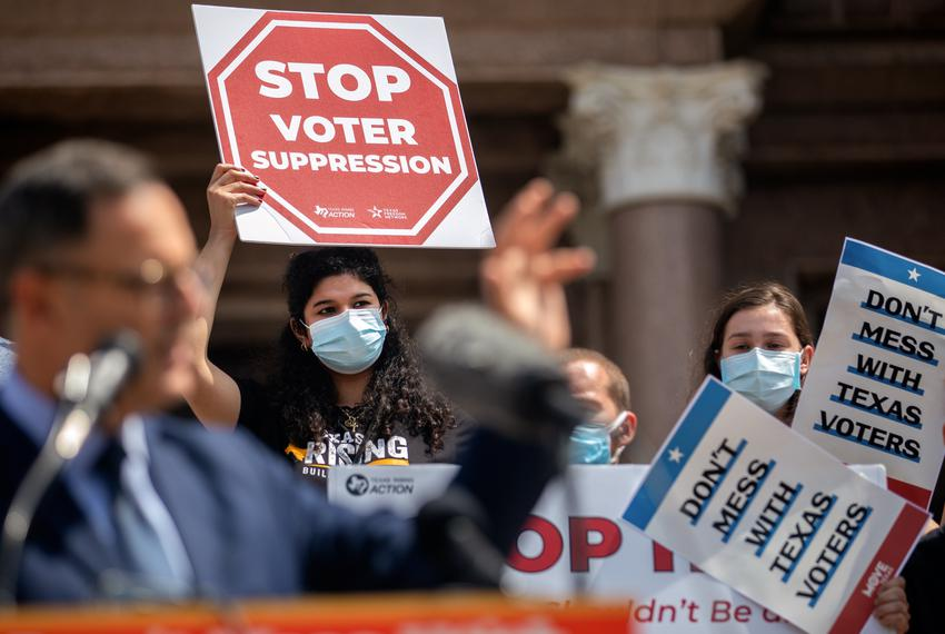 """Hundreds of people joined the """"Texans Rally for Our Voting Rights"""" event to speak out against restrictive voting bills at th…"""