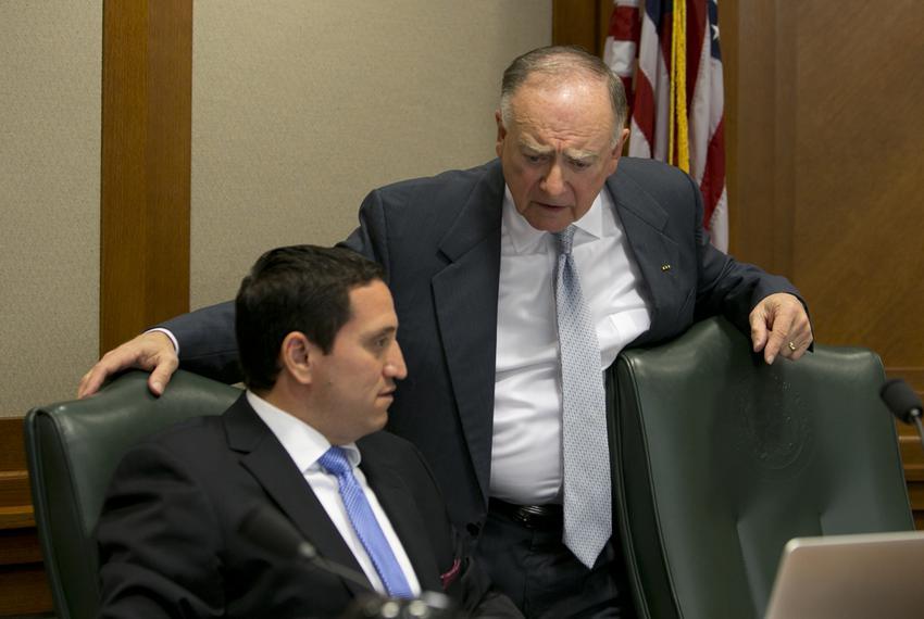 State Rep. Dan Flynn (right), R-Van, talks to state Rep. Trey Martinez Fischer, D-San Antonio, on Oct. 23, 2013. Van is co-c…