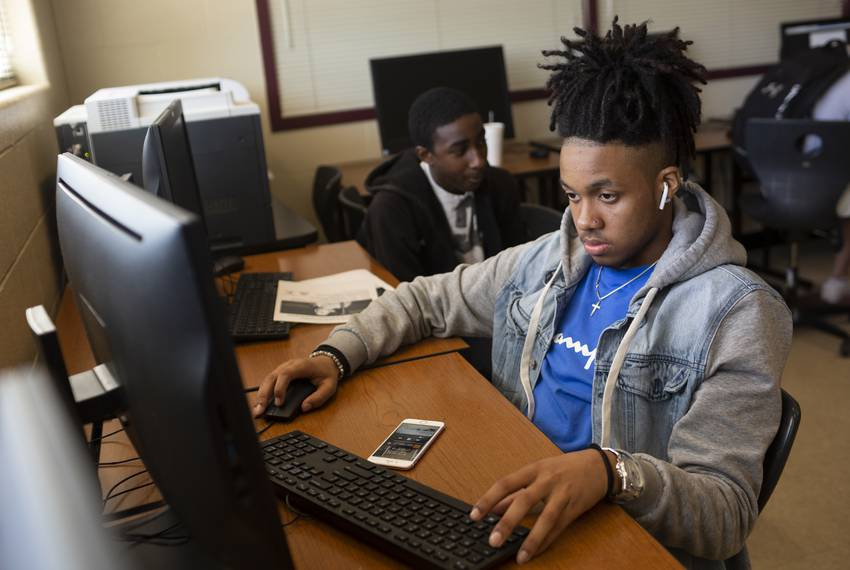 Students at Round Rock High School Addison Savors, left, and Ahmir Johnson, right, at school on April 26, 2019. The expans...