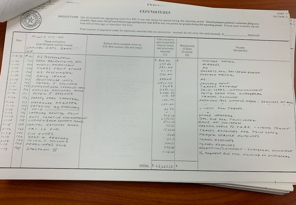 "In 1979, the Texas Inaugural Committee kept extensive expenditure records, including this ledger showing items such as a $500 payment to a ""Luckenbach Oompah"" band. Forty years later, the state is fighting to shield scrutiny of the 2019 Texas Inaugural Committee spending."