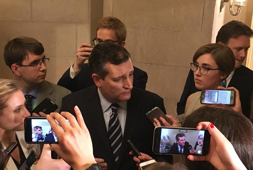Speaking to reporters after President Donald Trump's address to Congress on Feb. 28, 2017, U.S. Sen. Ted Cruz reiterated h...