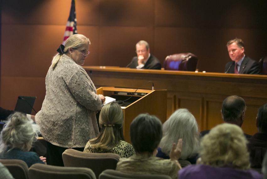Lynda Stokes, mayor of Reno, Texas, testified before the Texas Railroad Commission in 2014, voicing her concern about an i...