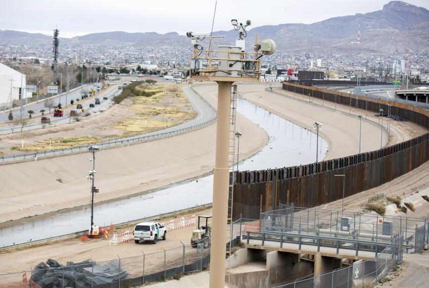 The Border Patrol is seen along the border fence between El Paso and Juarez on Sunday, February 10, 2019, in El Paso, Texa...
