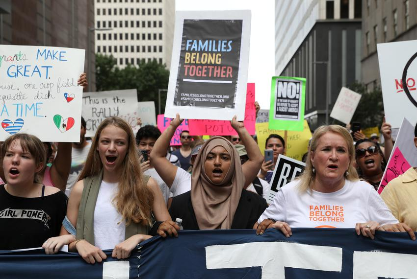 State Sen. Sylvia Garcia, D-Houston, (far right) marches with demonstrators protest the Trump administration's immigration p…