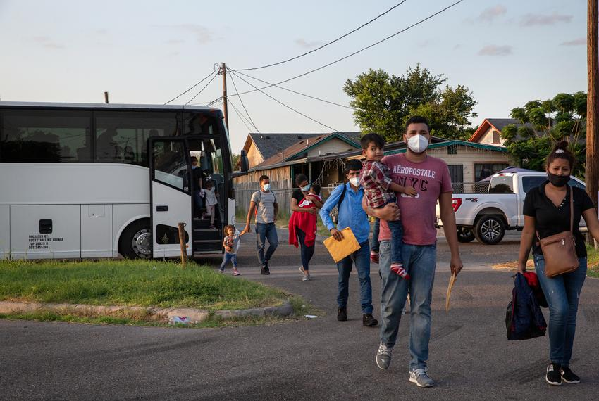 A group of migrants are dropped off at Our Lady of Guadalupe Catholic Church in Mission on July 27, 2021.